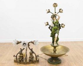 White Metal Lamp & 3-light Figural Lamp W. Cherubs