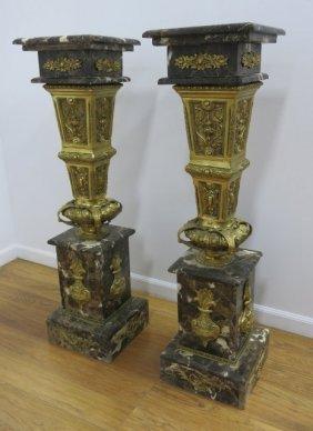 Pair Magnificent Bronze & Marble Pedestals