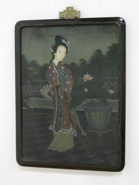 Chinese Reverse Painting, Young Maiden In Garden