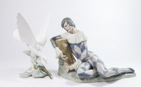 Lladro Harlequin With Rose & Turtle Dove