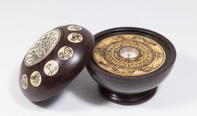Asian Rosewood Compass With Scrimshaw Inlaid Bone