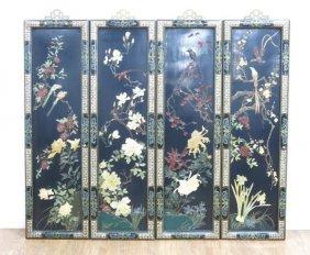 Four Chinese Ebonized Panels