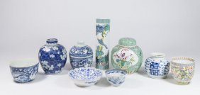 Group Lot Of 9 Chinese Porcelain Items