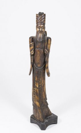 Carved Bone Figure Of Asian King
