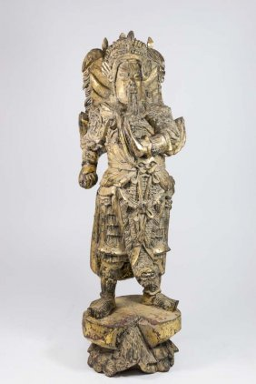 Giltwood Carving Of Chinese Warrior