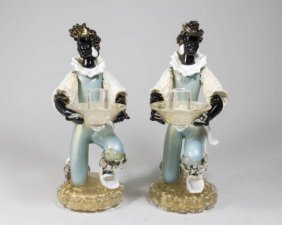 Pair Venetian Glass Nubian Figural Candlesticks