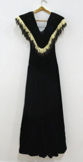 Fur-trimmed Black Velvet Dress