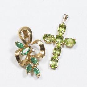 14k Gold & Emerald Pendant, Peridot & 14k Cross
