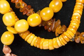 2 Amber Necklaces & Amber Worry Beads