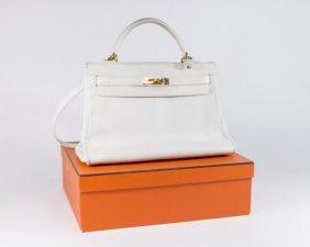 "Hermes White Calf Leather ""kelly"" Bag"