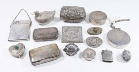 15 Sterling & Continental Silver Boxes & Compacts