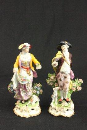 Pair English Porcelain Chelsea Figurines