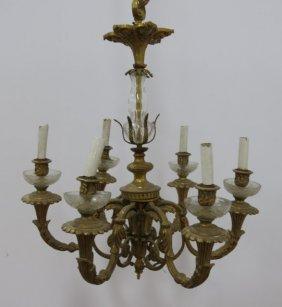 6-light Bronze & Crystal Chandelier