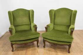 Pair Wing Back Green Upholstered Chairs