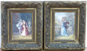 Pair Framed Plaques, Courting Scenes