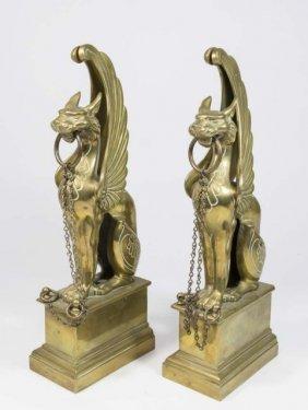 Pair Griffon Form Bronze Andirons