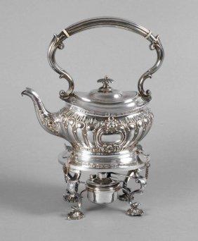 Teekanne Mit Rechaud Silber