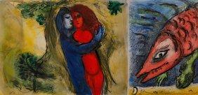 Nach Marc Chagall, Zwei Aquarellierte Drucke