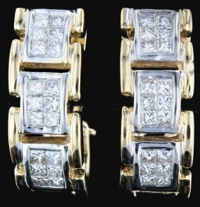 18k Gold, 1.08ct Diamond Earrings