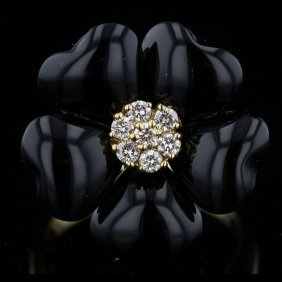 18k Yellow Gold Black Onyx & 0.26ct Diamond Ring