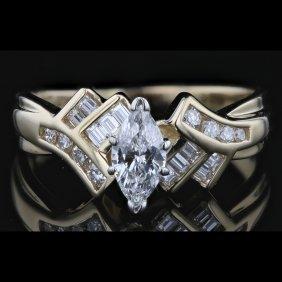 14k Two Tone White & Yellow Gold 1.00ct Diamond