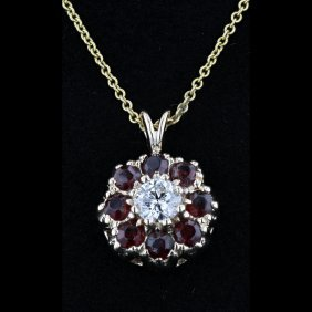 14k Yellow Gold 0.68ct Garnet & 0.34ct Diamond Pendant