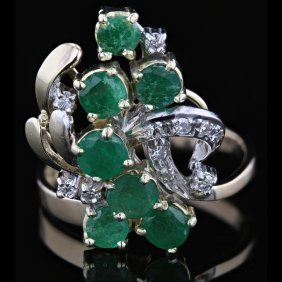 14k Yellow Gold, 1.75ct Emerald, 0.12ct Diamond Ring