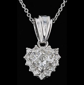 14k White Gold, 0.46ct Diamond Pendant