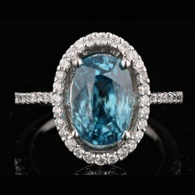 18k White Gold 5.16ct Zircon & 0.48ct Diamond Ring
