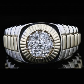 14k Two Tone White And Yellow Gold 0.51ct Diamond Ring