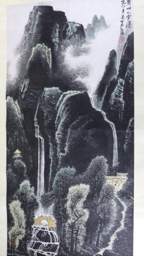 Scroll Of Watercolor Painting Signed Li Keran