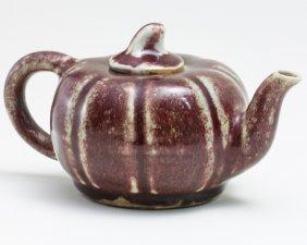 Melon Shaped Underglazed Red Teapot