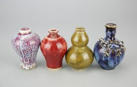 Four Mini Flambe Porcelain Vases