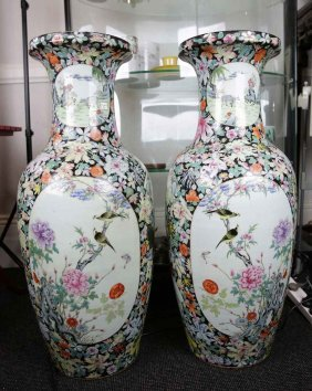 Pair Of Large Chinese Famille Rose Porcelain Vases