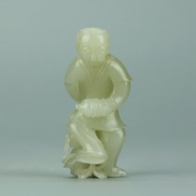 Chinese White Jade Carved Figure Of A Man
