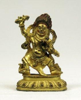 Small Sino-tibetan Gilt Bronze Figure Of Mahakala