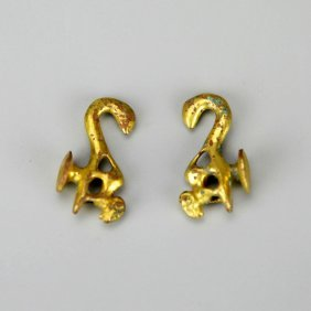 Pair Of Small Chinese Gilt-bronze Dragon Hooks