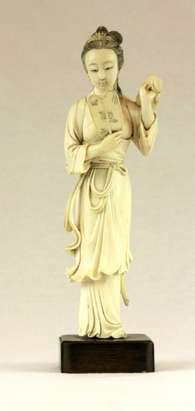 Vintage Chinese Ivory Carved Figure Of Lady