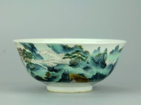 Chinese Polychrome Porcelain Bowl