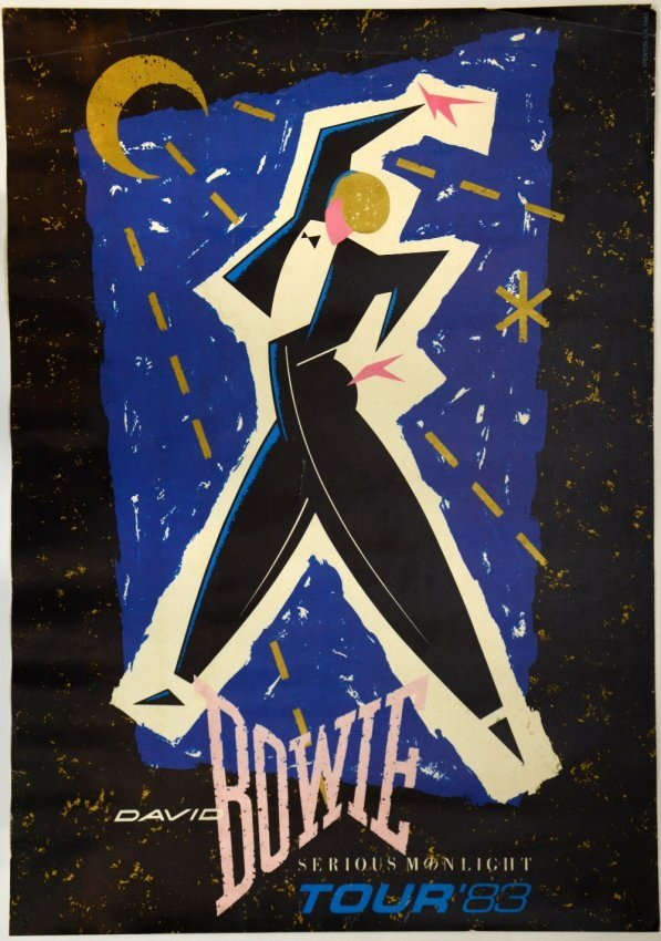 David Bowie, Serious Moonlight Tour Poster '88, rolled : Lot 78 Labyrinth 1986 Poster