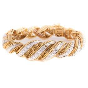 GOLD ROPE TWIST & DIAMOND BRACELET