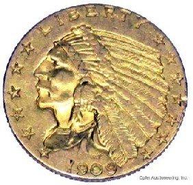 1909 $2 1/2 DOLLAR GOLD COIN