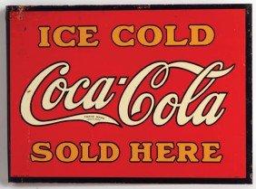 1930 Coca-Cola Flange Sign, Tin,