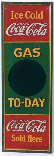 1932 Coca-Cola Tin Sign Gas Today