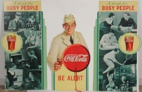1934 COCA-COLA 3-PIECE BUSY PEOPLE DISPLAY