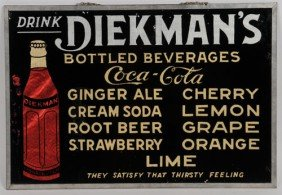 1920's To 30'S DIEKMAN'S BEVERAGES MENU SIGN