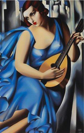 Femme Bleu A La Guitare