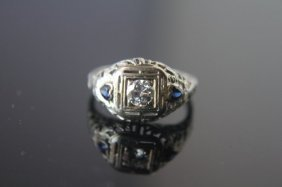 18k White Gold Circa 1920s Era Art Deco Diamond Ring