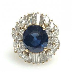 Sapphire And Diamond Ballerina Ring 18k Yellow Gold