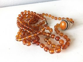 Chinese Amber Ring, Two Necklaces